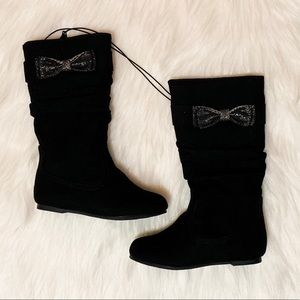 Toddler Girls Black Suede Tall Bow Boots